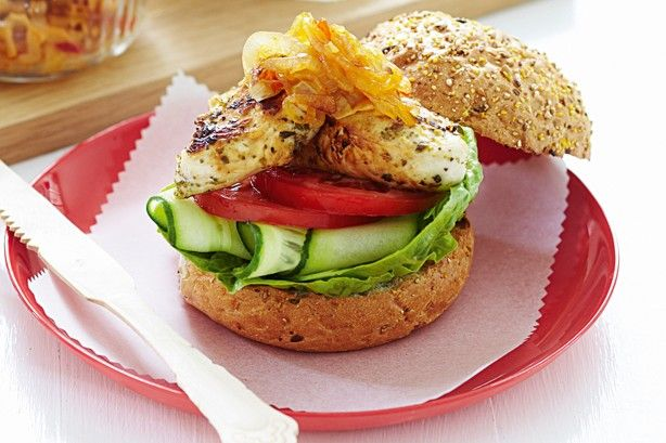 Chicken burgers with sweet chilli onion relish main image