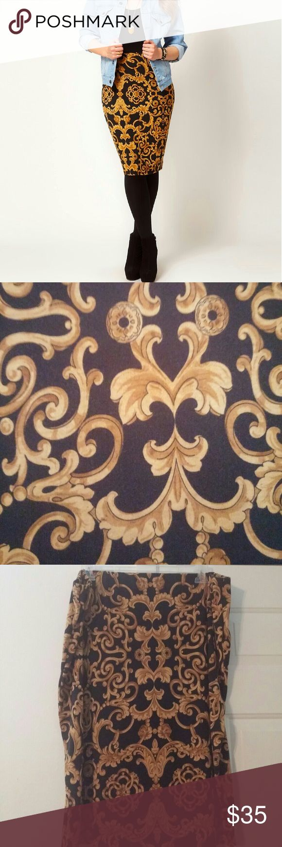 ASOS Curve Skirt ASOS Curve Baroque Chain Printed Skirt...elastic waist...UK 26/US 22 ASOS Curve Skirts Pencil