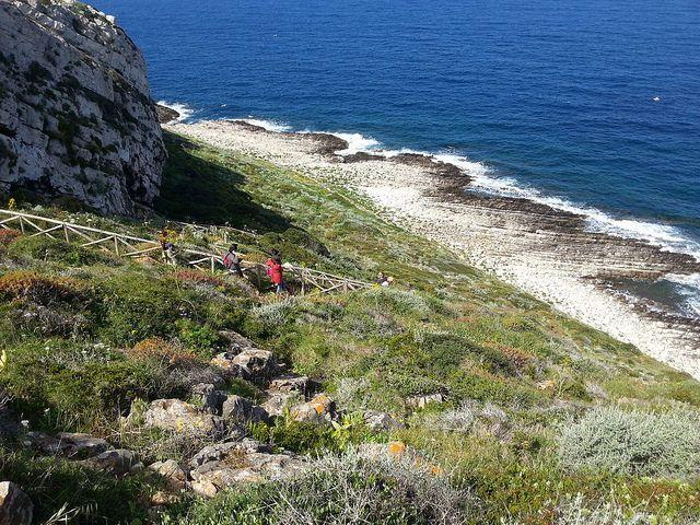 Isola di Levanzo - la costa vicino alla Grotta del Genovese, si notano insolite formazioni rocciose a livello dell'acqua che consentono di sbarcare a piedi per raggiungere la Grotta dal mare   da Lorenzo Sturiale