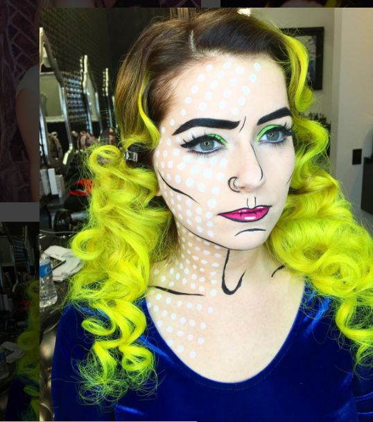 37a3c4a5618d2dab73159efe6c51968c  cool halloween makeup halloween face - In case you're searching for a makeup-only costume, Lichtenstein-style Pop Artwork is a enjoyable...