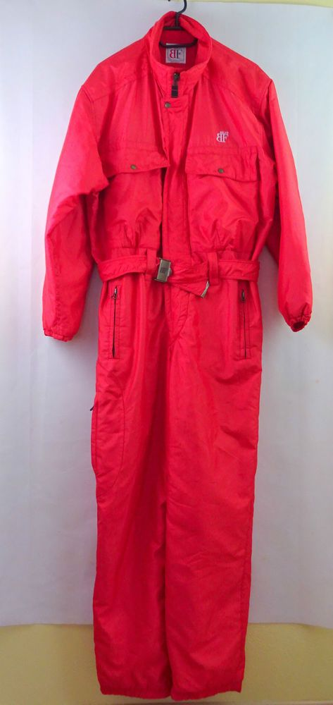 BELFE LADIES Vintage ski suit RED WOMENS Size 48 Medium Skisuit Onesie GC in Sporting Goods, Skiing & Snowboarding, Clothing, Hats & Gloves | eBay