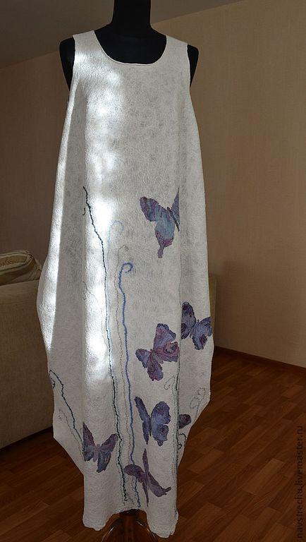 """Купить Сарафан """"Двенадцать бабочек"""" работа на заказ - белый, бабочки, Батик, белый сарафан"""