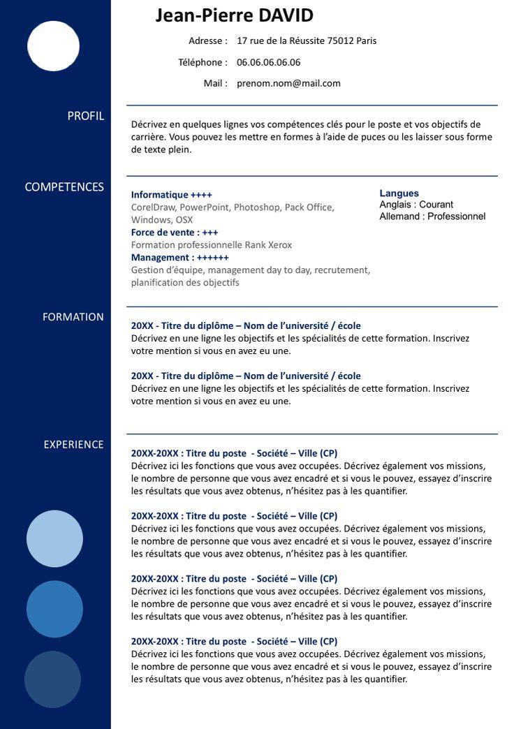 Exemple de CV à télécharger (Format Word) gratuit à