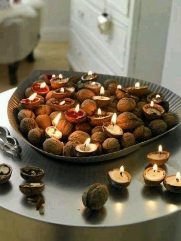 たくさんのクルミの殻にキャンドルを流し込み、ポップで可愛い空間が完成。