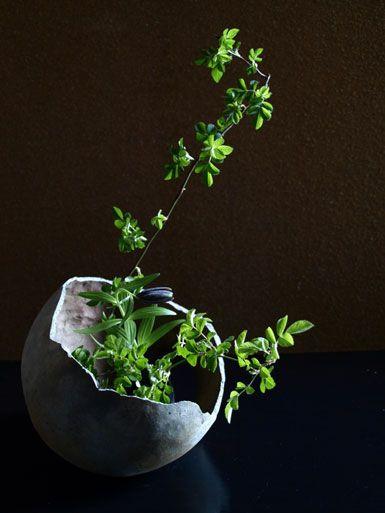 Ikebana Asian style flower arrangement 残月