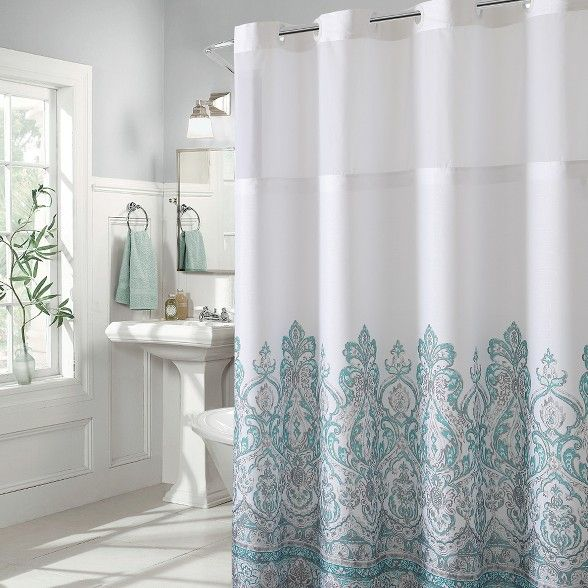 Damask Border Shower Curtain With Liner Hookless Hookless