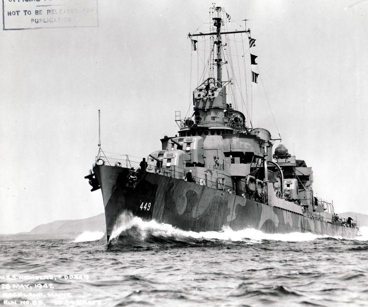USS Nicholas (DD-449) Fletcher class destroyer in camouflage.