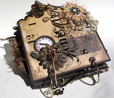 Amazing mini by Stephanie Miller for BlueMoonScrapbooking. (BoBunny Timepiece collection) pinned from card making passion