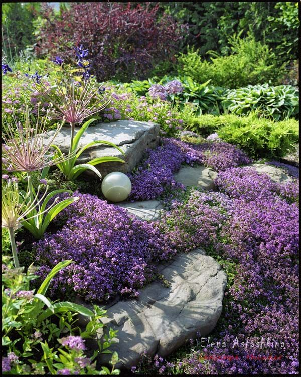 Beautiful rock garden. Love the sphere tucked into the rock