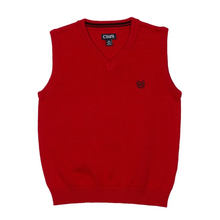 Boys 4-20 Chaps Solid Sweater Vest, Size: 18-20, Med Red