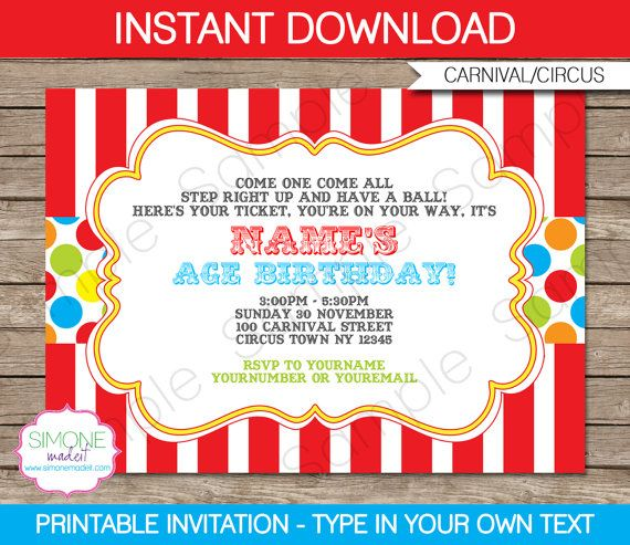 Carnival Invitation - INSTANT DOWNLOAD - Editable Birthday Party PDF file you personalize at home with Adobe Reader