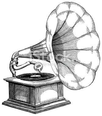 Gramophone Ink Drawing Vector Illustrations Band