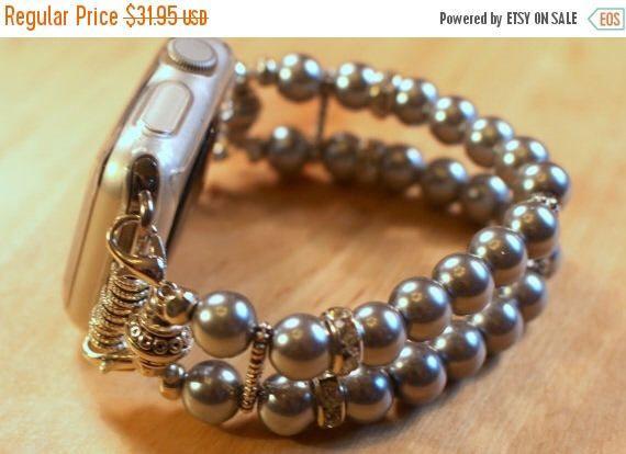 On Sale Ends Monday PM Apple Watch Band, Watch Band for Apple Watch, Gray Pearl Apple Watch Bracelet, Watch Band, Watch Bracelet by jewelrysldesigns on Etsy https://www.etsy.com/listing/505308601/on-sale-ends-monday-pm-apple-watch-band
