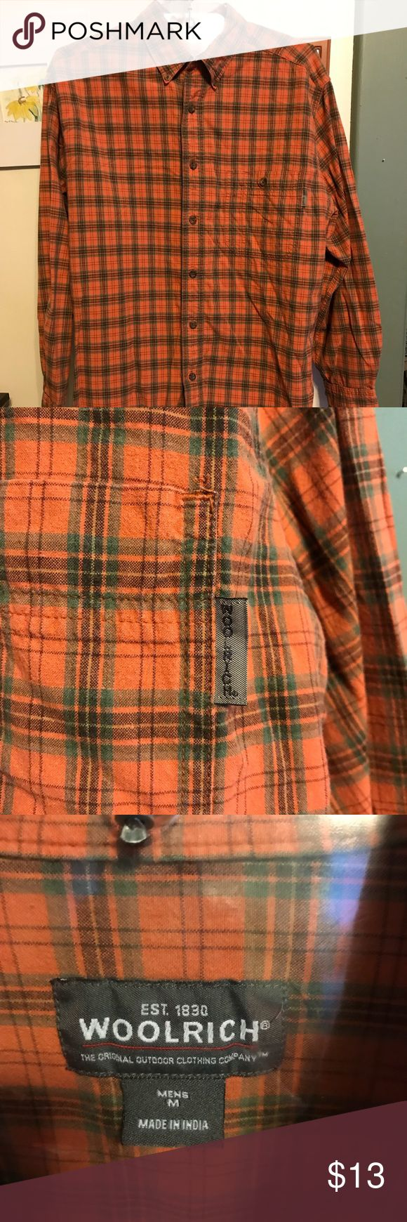 TIMBERLAND COTTON SHIRT. Sz. Medium. Orange NICE ORANGE PLAID TIMBERLAND SHIRT. A bit heavier cotton twill weave.  There is slight fading but no spots, holes, etc... many years of wear!! SIZE MEDIUM   NON SMOKER  BUNDLE 3+ ITEMS TO SAVE AT LEAST 20%!!  Accepting reasonable offers Timberland Shirts Casual Button Down Shirts