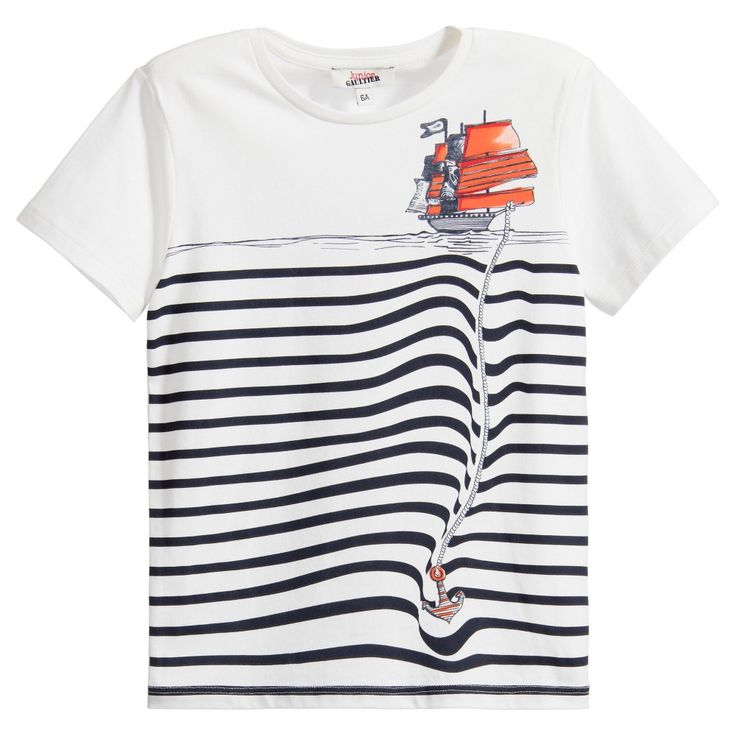 Boys White T-Shirt with Breton Stripes & Pirate Ship, Junior Gaultier, Boy