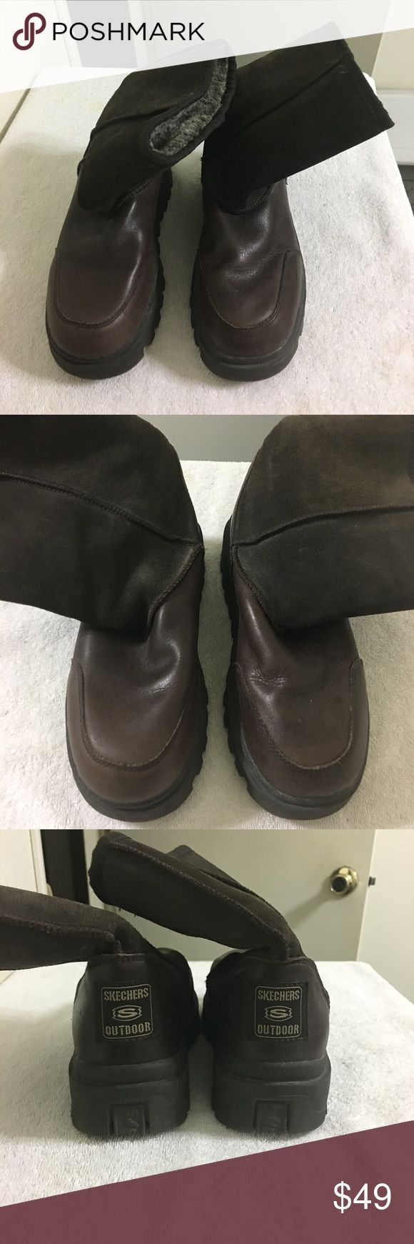 Sketchers Boots Outdoor Brown Size 6 Cute & comfortable Sketchers Outdoor Boots for sale.  Dark Brown, Size 6.  Suede upper & Leather base with warm, soft fuzzy textile lining.  Gently worn in great condition. Skechers Shoes Ankle Boots & Booties