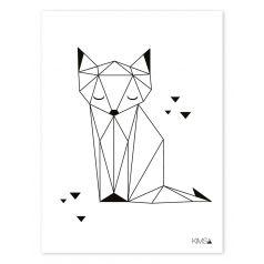 Kinderzimmer-Poster 'Origami-Fuchs' schwarz/weiß 30x40cm (Diy Decorations Chambre)