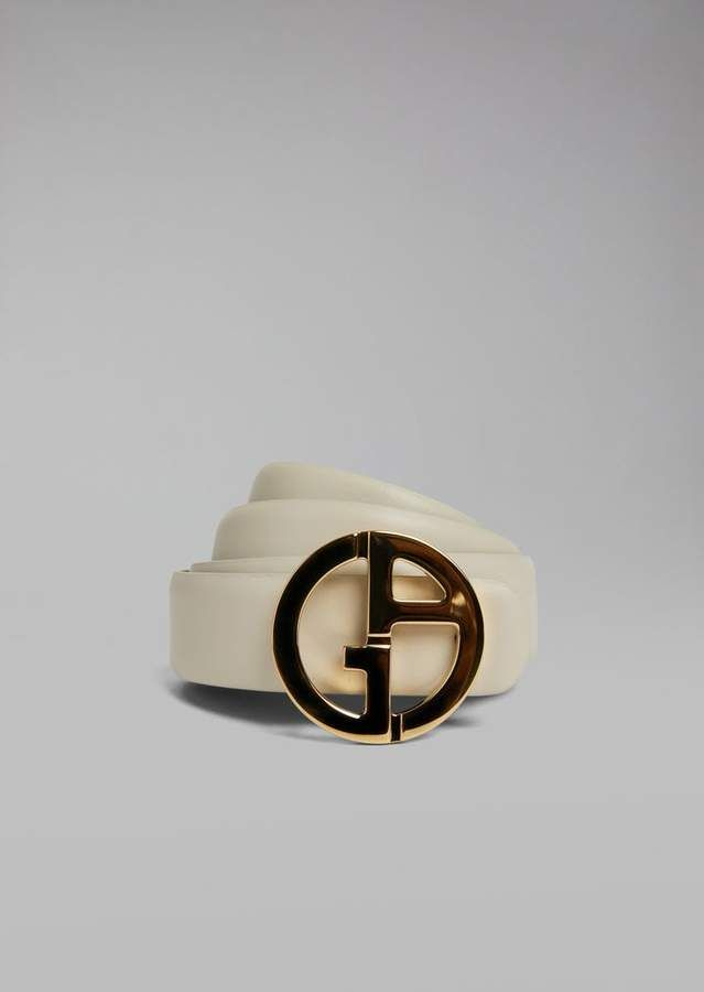 Reversible Leather Belt With Metal Logo For Women Giorgio Armani