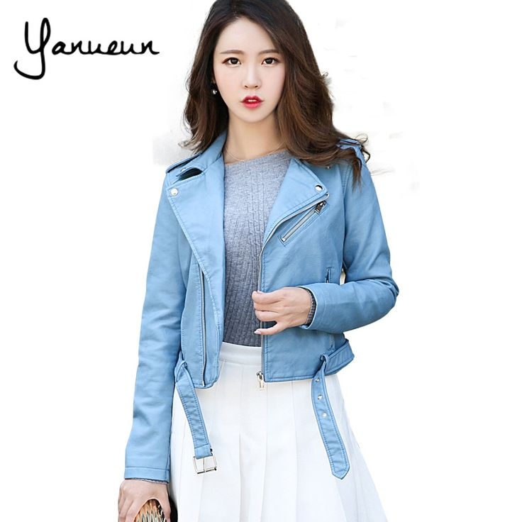==> [Free Shipping] Buy Best Yanueun Korean Fashion 2017 New Fashion Women Faux Leather Jackets Lady Bomber Motorcycle Cool Outerwear Coat with Belt Online with LOWEST Price | 32727084087