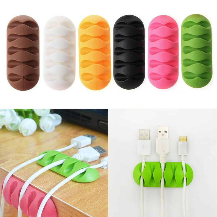 5-Clip TPR Earphone Cable Winder Organizer Charger Cable Protector Holder Cover Case Fixing Device