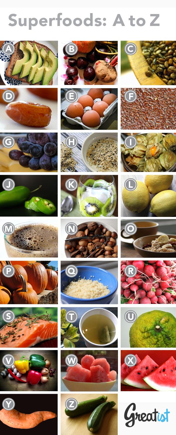 Healthy foods start with every letter of the alphabet. Here are 26 of our favorites, from A to Z, and why we think they're so super.