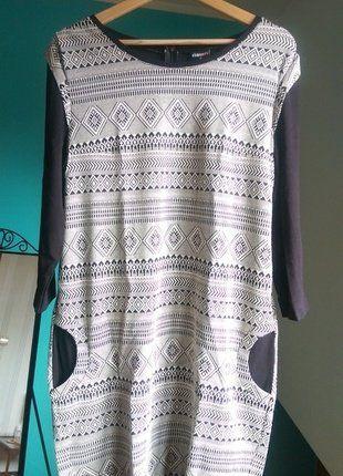 Kup mój przedmiot na #vintedpl http://www.vinted.pl/damska-odziez/krotkie-sukienki/17290409-czarno-biala-sukienka-tuba-w-geometryczne-wzory