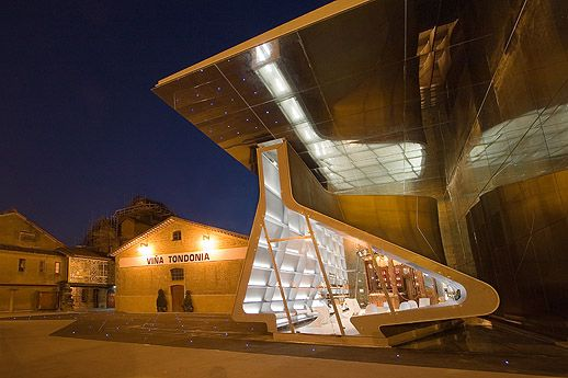 The tasting room at López de Heredia in Rioja by Zaha Hadid -- wow! A stunning place to taste some delicious wines.
