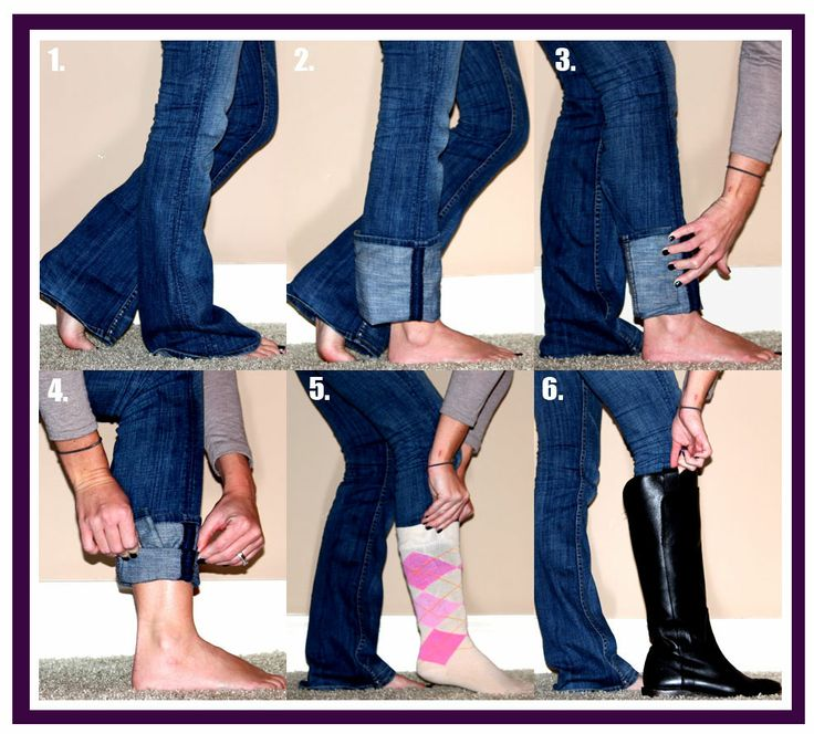 How to fold jeans for wearing tall boots; if socks would be difficult to wear for some reason, roll your jeans up again to keep the crease in place like it shows in #4 - otherwise, just use a sock to hold the crease in place.