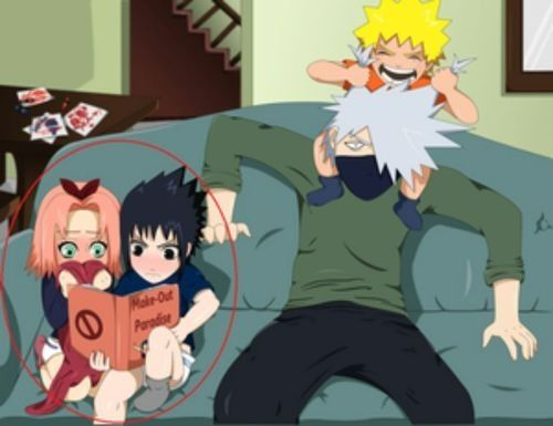 Kakashi! Don't let that kind of book lay where small kids can find them!!! And Naruto, what are doing, you little brat??!