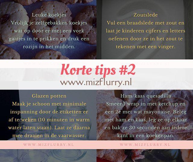 Vier korte tips: leuke koekjes versieren, speelidee zoutslede, glazen potten schoonmaken en recept ham/kaas quesadillas. van: www.mizflurry.nl