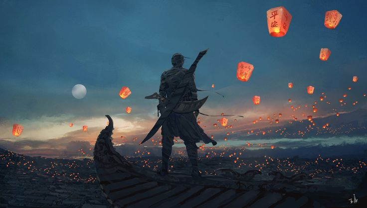 Sky Lanterns by wlop.  Hue and value, kiddies.  Learn it, live it.  beautiful composition that draws in the viewer on a more that superficial basis.  Noice.
