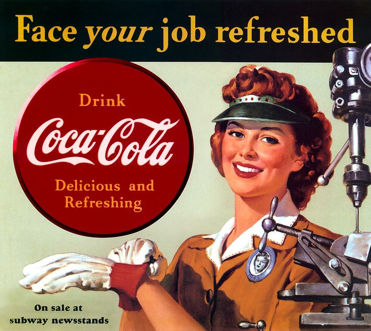 A collection of ads for a very popular beverage thru the years