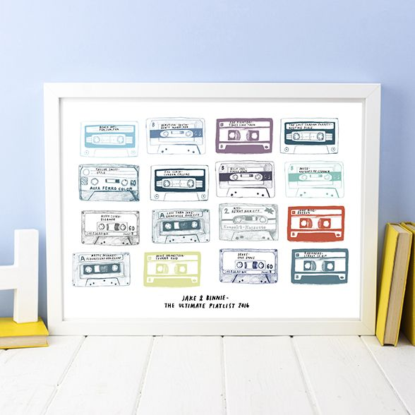 This Personalised Play List Cassette Print is a fun personalised typography print for everyone; who hasn't got those tunes and pop groups that are special to them?  Great for this years Father's Day, give dad all his favourite songs on this print!  This is a great gift to give to a music loving boyfriend on your anniversary, and put all those songs down that are you two!  Or for a wedding anniversary, the play list from your wedding. Why not get it for a friends 40th Birthday Party and…