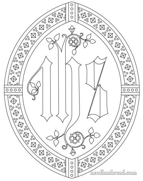 IHS ecclesiastical embroidery pattern via needlenthread.com