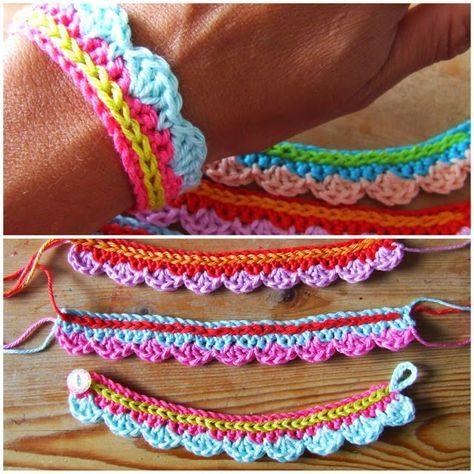 Pulsera primaveral al crochet paso a paso   Crochet y Dos agujas