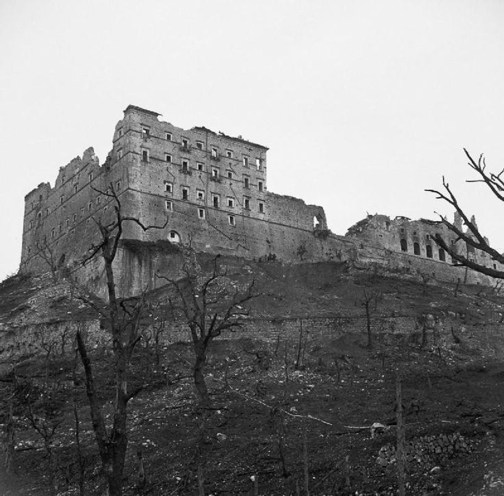 BATTLE CASSINO JANUARY-MAY 1944 (NA 15141)   Ruined shell of the Monte Cassino Monastery a day after it was captured by the 2nd Polish Corps troops. Photograph shows the only surviving wall of the Abbey after the bombardment in February 1944.