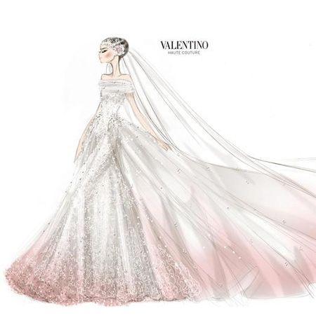 Anne Hathaway's Wedding Dress Sketch by Valentino