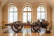 Cugnot's 1770 fardier à vapeur, as preserved at the Musée des Arts et Métiers, Paris.