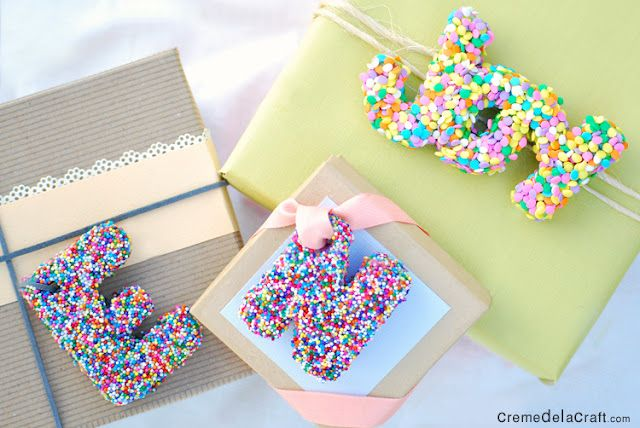 diy gift toppers or ornamentsLetters Gift, Sprinkles, Birthday Gift, Diy Gift, Diy Tutorials, Gift Wraps, Gift Tags, Gift Toppers, Diy Projects