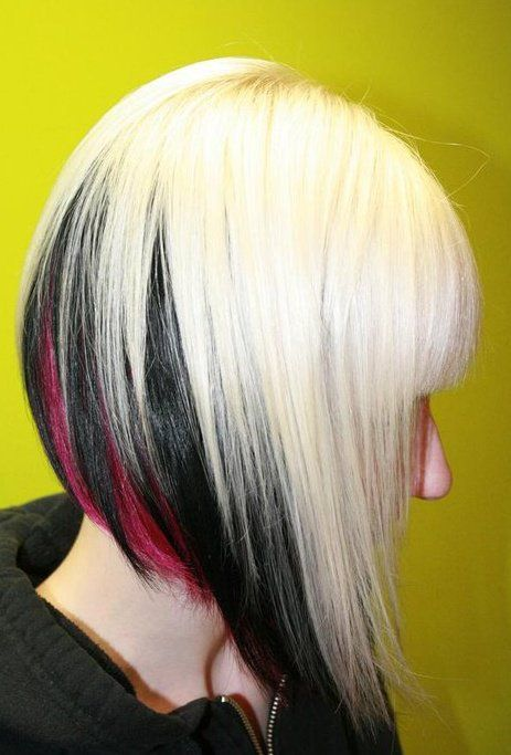 platinum colored hair,with black and pink peekaboo under....I'm so doing this in reverse for my bday