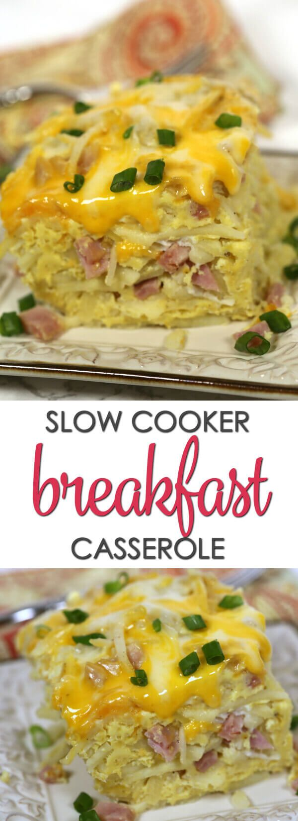 Slow Cooker Breakfast Casserole - this easy breakfast recipe cooks while you sleep. It's one of the best slow cooker recipes of all times.