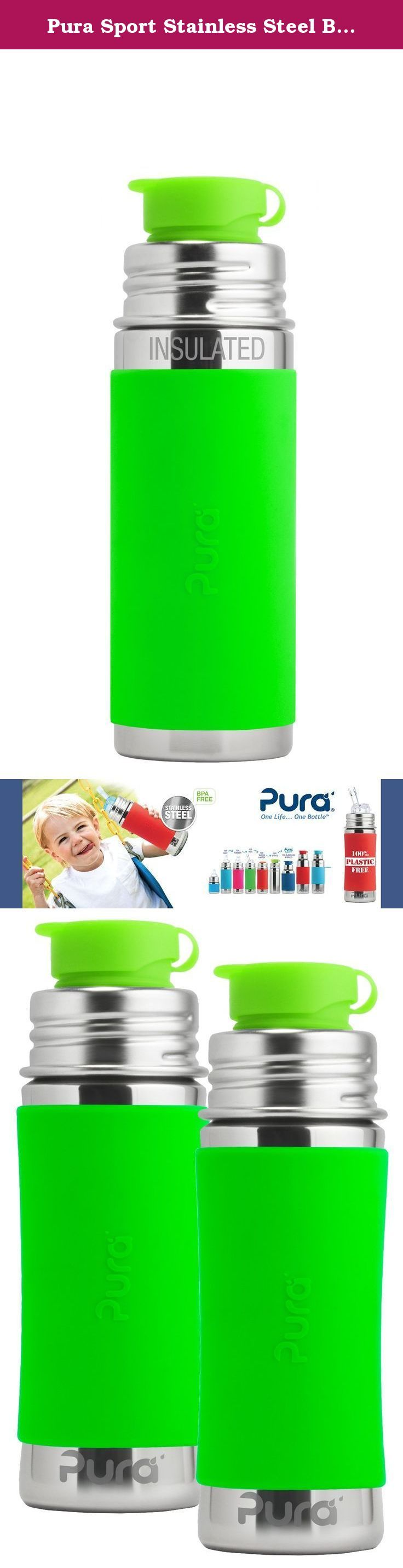 Pura Sport Stainless Steel Bottle, 11 Ounce, Set of 2, Green. Our development team took up the challenge of creating the first (and only) 100% plastic-free sport bottles in the world. Like all bottles in the Pura Sport collection, the Pura Jr Sport Bottle features a Food Grade Stainless Steel bottle (18/8), Medical Grade Silicone components, and zero plastic parts! Each bottle features our patented, medical grade silicone Big Mouth sport top. The Big Mouth allows a free flow of liquids…