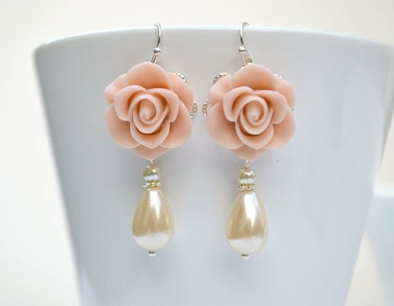 Flower dangle earrings blush dusty pink by ArtemisBridalJewelry