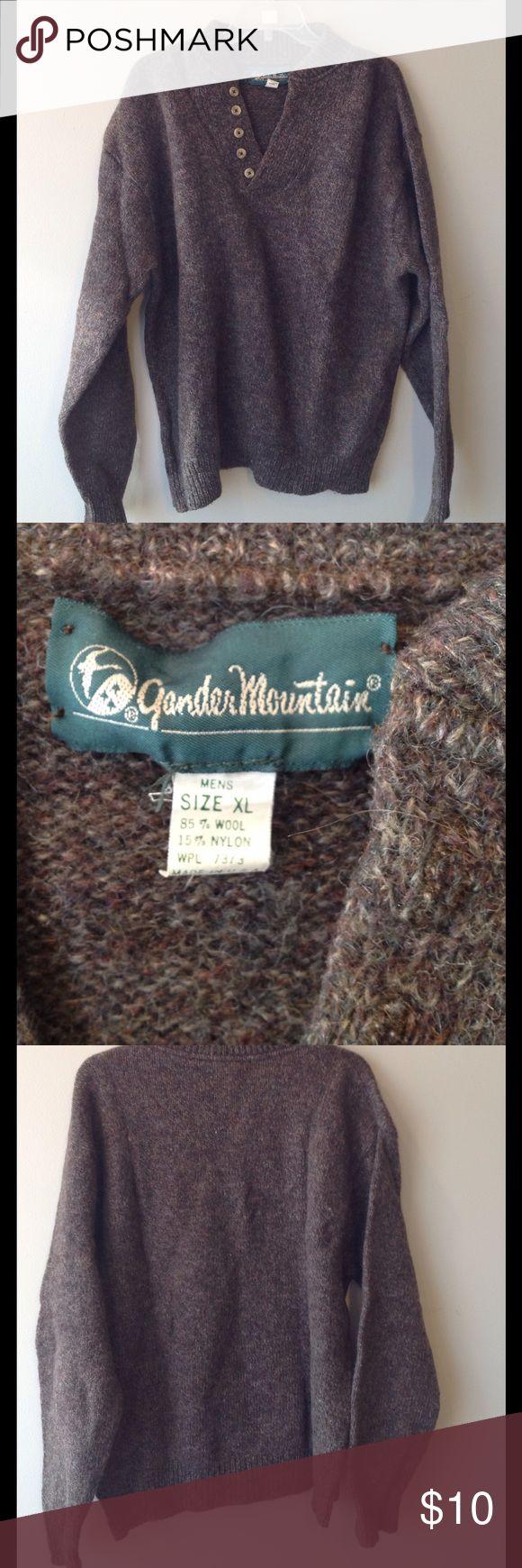 Men's Gander Mountain XL Wool sweater Brown Men's XL wool sweater By Gander Mountain in brown. Gander Mountain Sweaters V-Neck