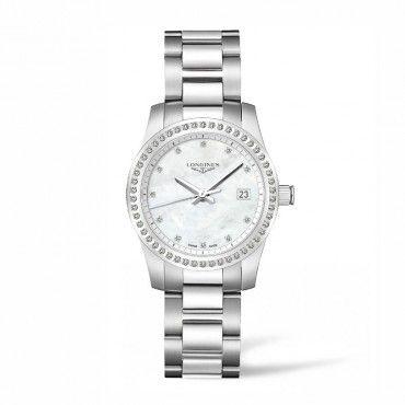 L34000876 Γυναικείο quartz LONGINES Conquest με μπρασελέ, φίλντισι & διαμάντια σε καντράν & στεφάνη | Ρολόγια LONGINES επίσημος αντιπρόσωπος στο Χαλάνδρι #conquest #διαμαντια #longines #ρολόι