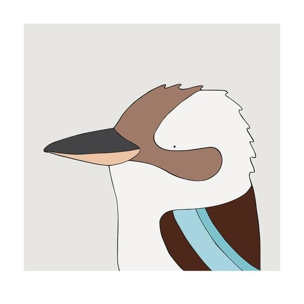 Laughing Kookaburra - bird art by Australian graphic designers Eggpicnic.