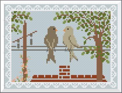 Birds on a wire cross stitch