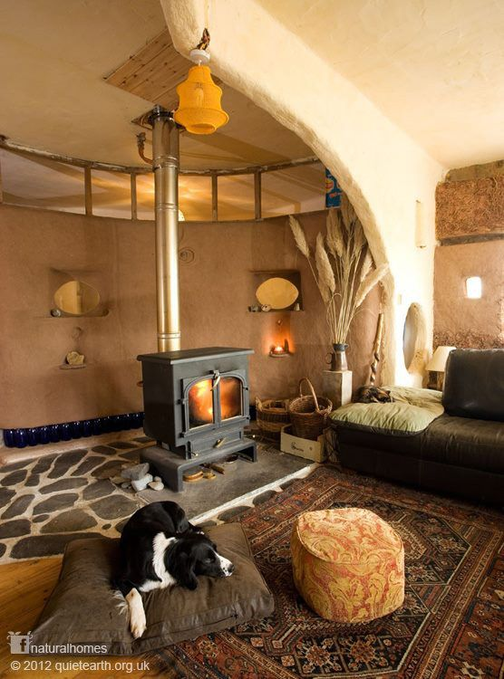 The living room of a straw bale house in Wales.