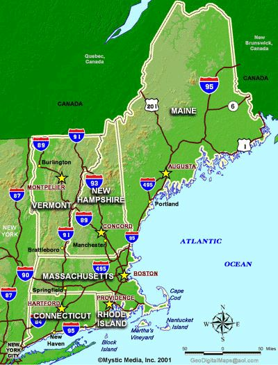 Best New England Maps Images On Pinterest East Coast Maine - Us map new england