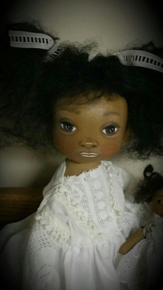 """Pretty black cloth doll/15""""/swivel head prims-of-the-past  (ebay)"""